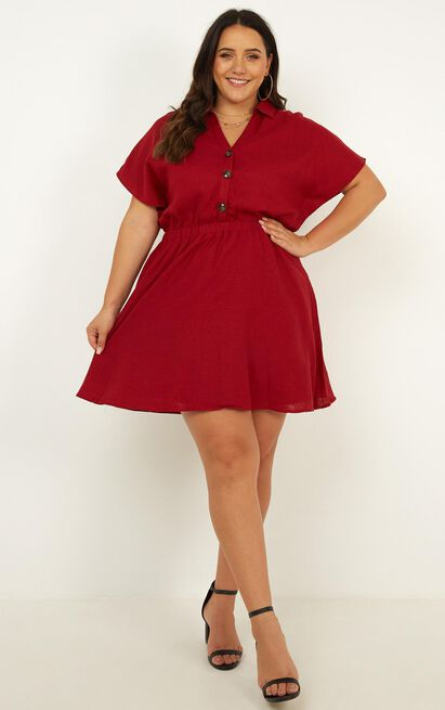 Brunch Dress in chilli linen look - 12 (L), Red, hi-res image number null