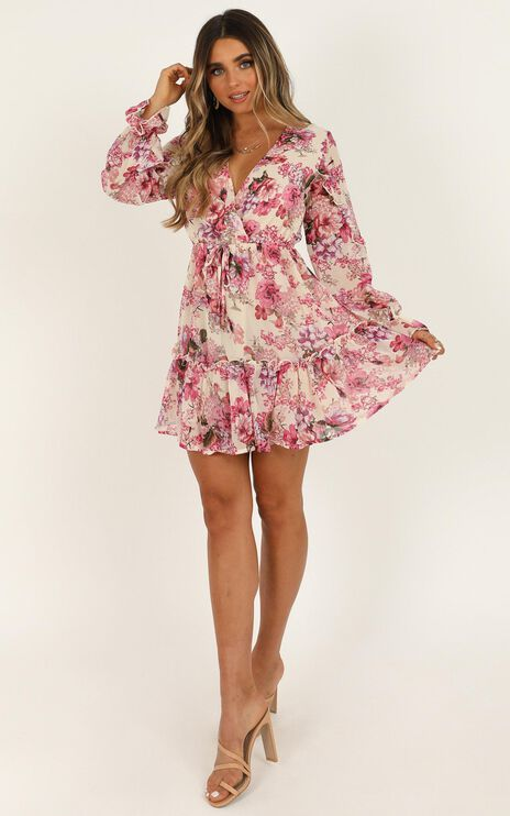 Freak Of Nature Dress In Pink Floral