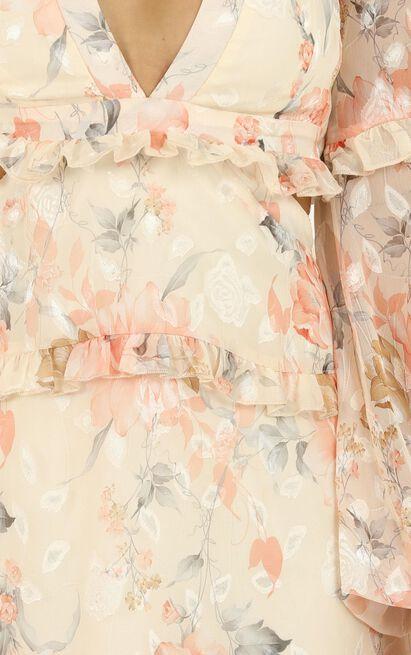 Wait On The Dance Floor dress In peach floral - 20 (XXXXL), Orange, hi-res image number null