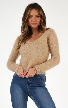 Dont Want To Let You Knit Jumper In Beige
