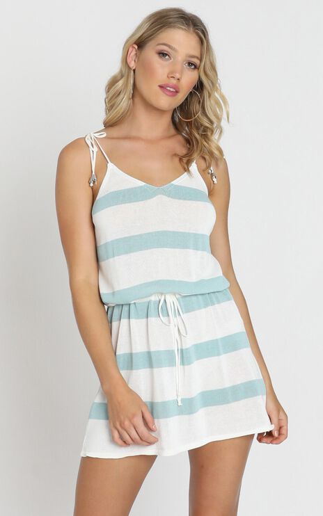 Mackenzie Dress In Sage Stripe