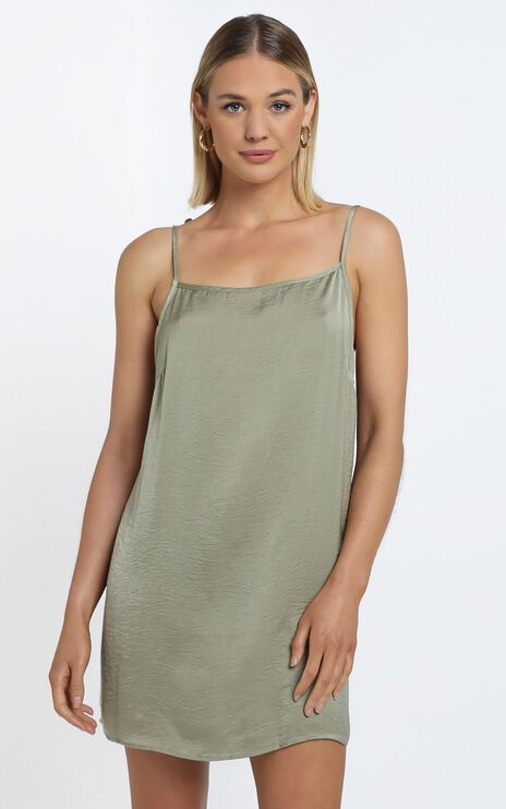 Silky Cami Dress in Khaki