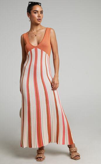 Tomica Knit Rib Maxi Dress in Multi Stripe
