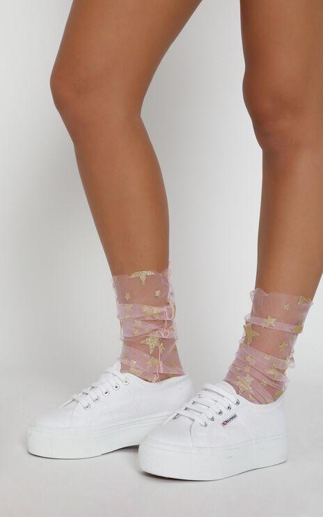 One Love Glitter Star Socks In Pink