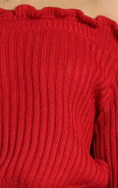Caught You Staring Knit Jumper in red - 20 (XXXXL), Red, hi-res image number null