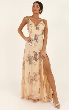 Know About You Dress In Rose Gold Sequin