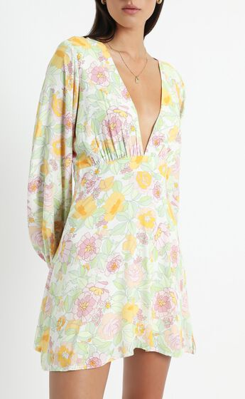 Negroni Dress in Linear Floral