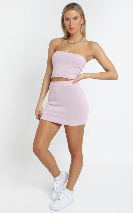 Connie Knitted Two Piece Set in Pink