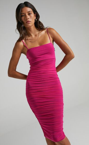 Coming For You Dress in Hot Pink Mesh