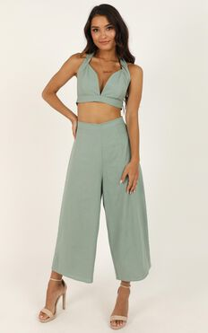 Wont Change Two Piece Set In Sage Linen Look