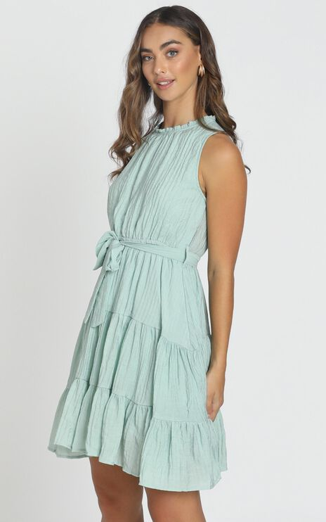 Savannah Belted Smock Dress In Sage