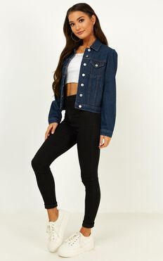 Ava Denim Jacket  In Dark Blue Wash
