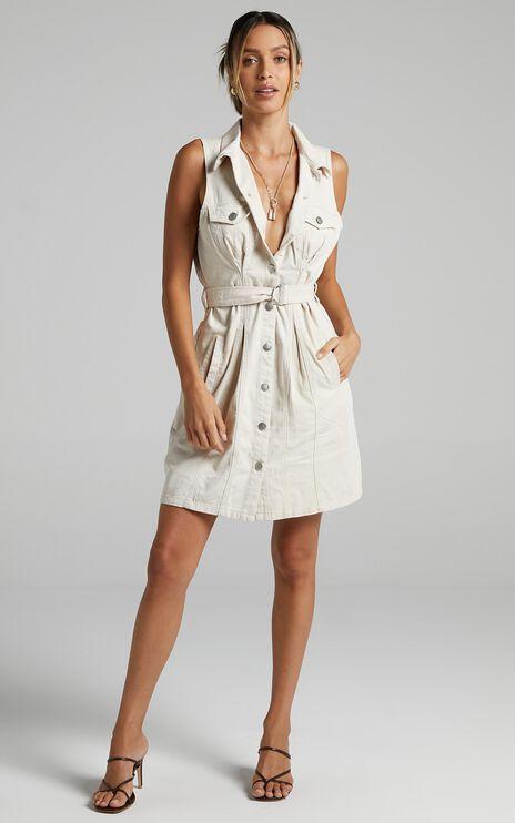 Twiin - Pinched Shirt Dress in Bone