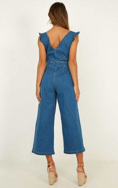 Enough To Love Denim Jumpsuit In mid wash - 14 (XL), Blue, hi-res image number null