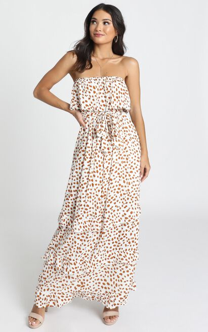 Candice Dress in tan spot - 14 (XL), Tan, hi-res image number null