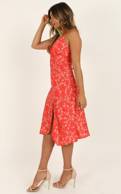 Feeling Fun dress in red floral satin - 16 (XXL), Red, hi-res image number null