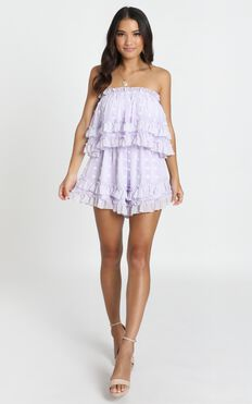 Happier Each Day Ruffle Playsuit In Lilac