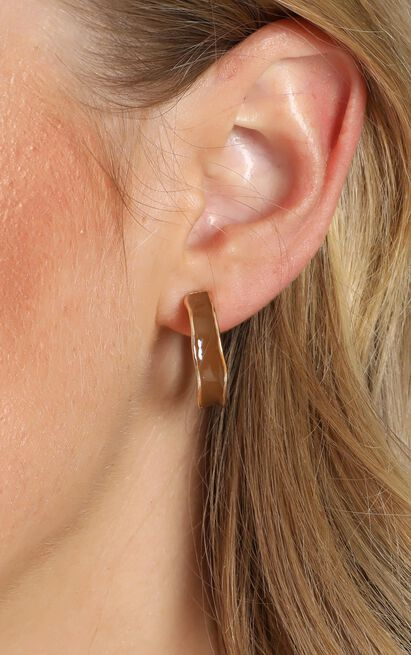 Travel List Hoop Earrings in Gold and Tan, , hi-res image number null