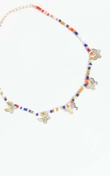 Beaded Necklace with Butterflies in Multi