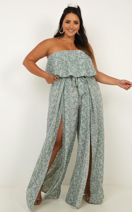 Checking Twice Jumpsuit In Sage Floral