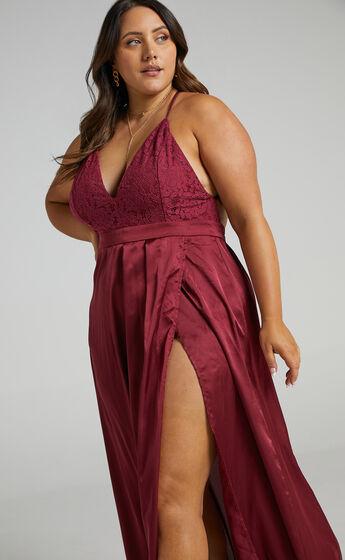 Inspired Tribe Plunge Neckline Thigh Split Maxi Dress in Wine
