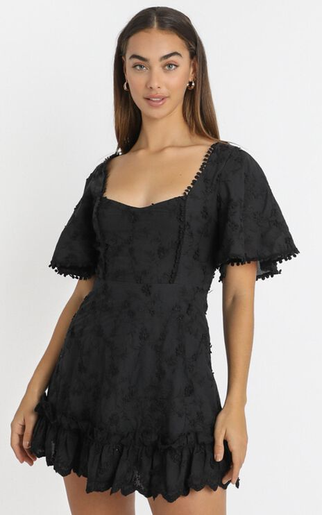 Fancy A Spritz Dress In Black Embroidery