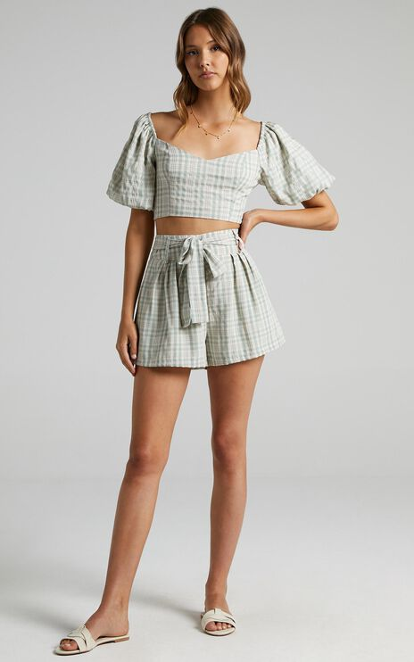 Fringilla Top in Sage Check