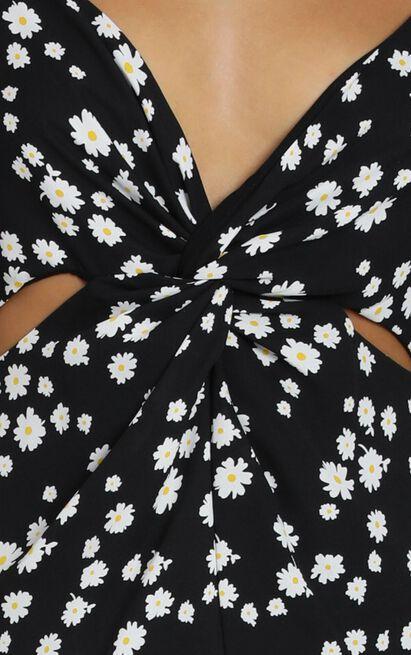 Guildford Dress in black floral - 8 (S), Black, hi-res image number null