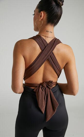 Kimbaa Slinky Multi tie bodysuit in Chocolate
