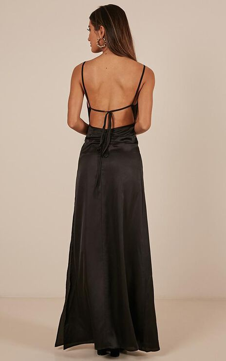 Style And Substance Maxi Dress In Black Satin