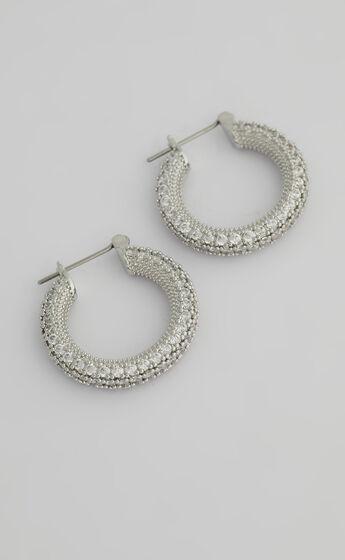Luv AJ - Pave Estelle Hoops in Silver