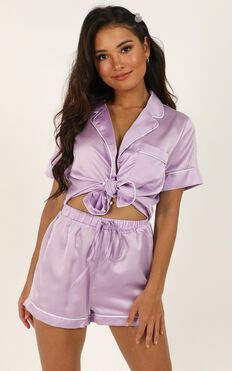 Sleep All Day Shorts In Lilac Satin