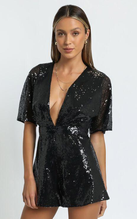 Star Behaviour Playsuit In Black Sequin