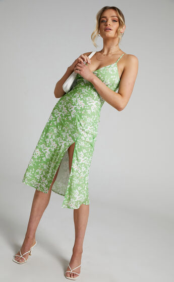 Sabrine Printed Midi Slip with Split Dress in Whispering Floral