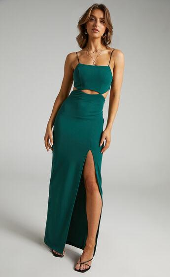 Monet Cut Out Underbust Dress in Emerald