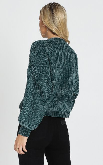 Staying Right Here Jumper in emerald velvet knit - 14 (XL), Green, hi-res image number null