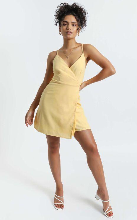 Whisper It Dress in Lemon Linen Look
