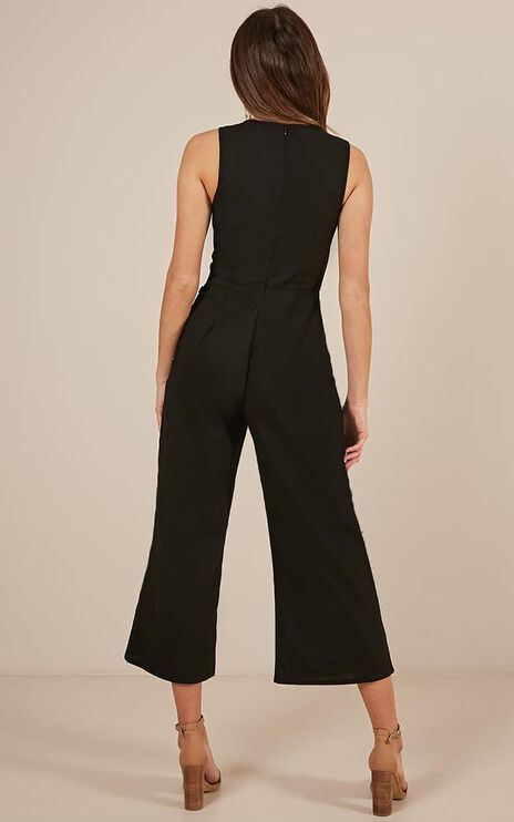 Clear As Crystal Jumpsuit In Black Linen Look