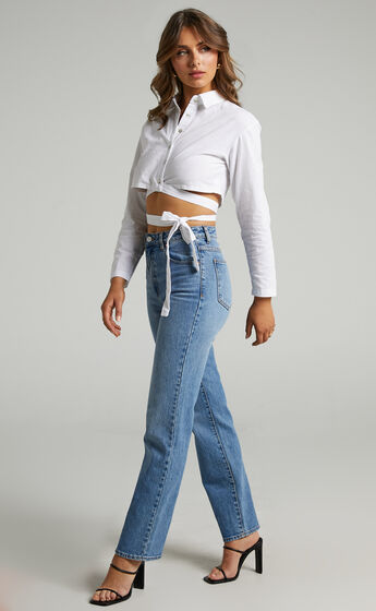Barby collared cropped Top with tie waist in White
