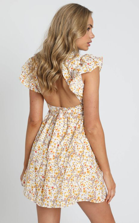 Back To Beginning Dress in Yellow Floral