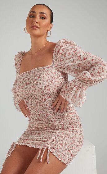 Another Voice Off Shoulder Bodycon Mini Dress in Pink Floral