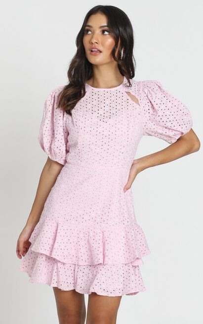 Eternal Short Sleeve Mini Dress in lilac embroidery - 12 (L), Purple, hi-res image number null