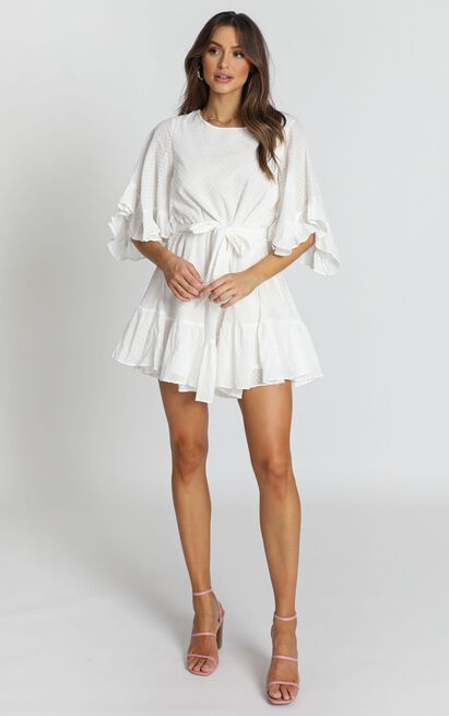 Adrianna Ruffle Mini Dress in white - 12 (L), White, hi-res image number null