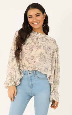 Iconic Girl Top In  Cream Floral