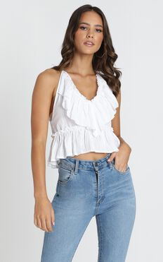 Ronnie Ruffle Top In White