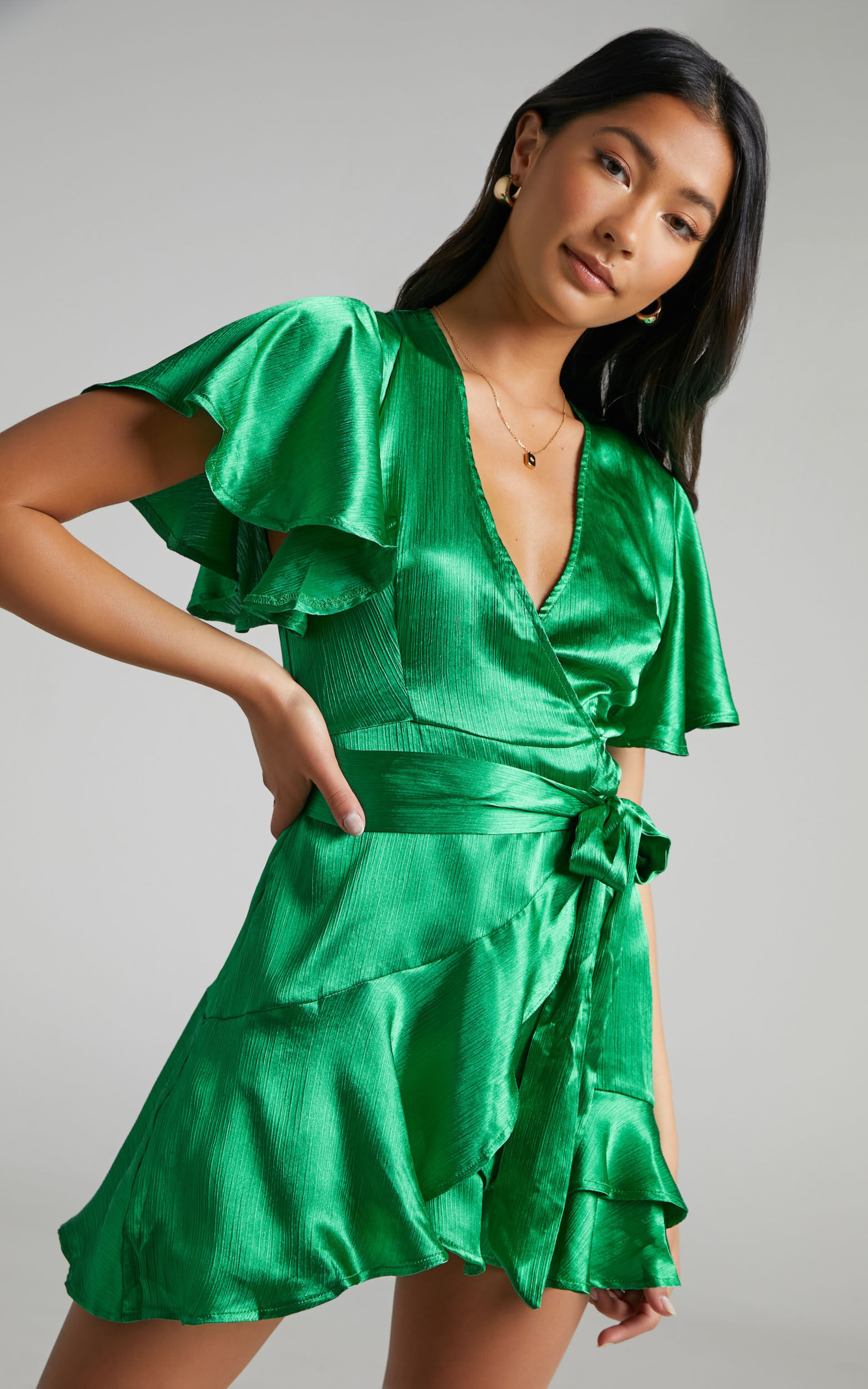 All I Want To Be Ruffle Mini Dress in Green Satin - 04, GRN2, super-hi-res image number null
