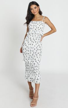 My Favourite Thing Shirred Midi Dress In White Floral