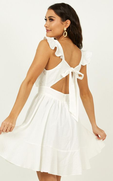Timid Laughter Dress In White Stripe