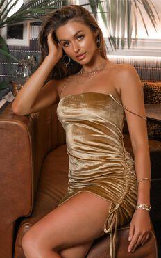 Beyond It Dress In Gold Velvet