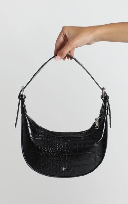 Peta and Jain - Kaley Shoulder Bag In Black Croc, , hi-res image number null